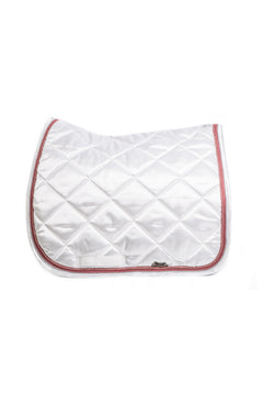 Marta Morgan Satin Saddle Blanket (White Satin with Red Pink Trim)