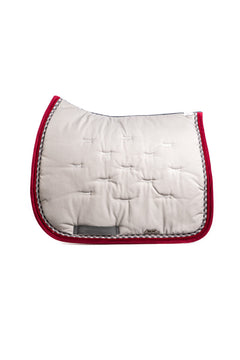 Marta Morgan Cotton Saddle Blanket (Light Grey Cotton with Bordeaux Trim)