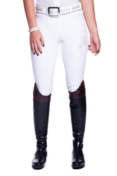 B-Oliver Swarovski Crystal Competition Breeches (White)