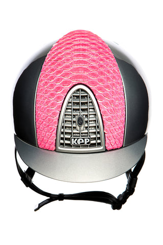 Image of the custom riding boot: KEP CROMO PYTHON LIMITED EDITION HELMET (GREY/PINK)