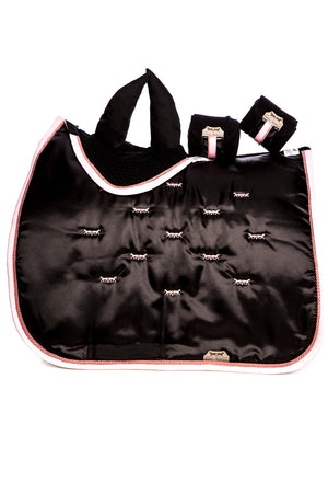 Marta Morgan Satin Saddle Blanket (Black Satin Pink Trim)