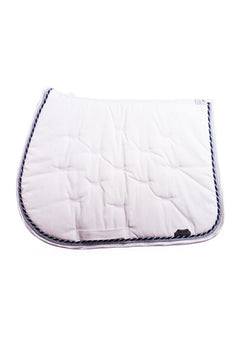 Marta Morgan Cotton Saddle Blanket (White Cotton with White Satin and Navy Trim)