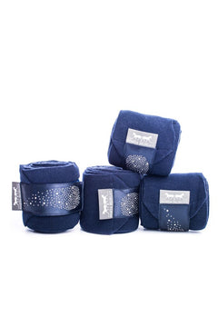 Marta Morgan Fleece Bandages (Navy Fleece with a Navy Satin and Swarovski Trim)