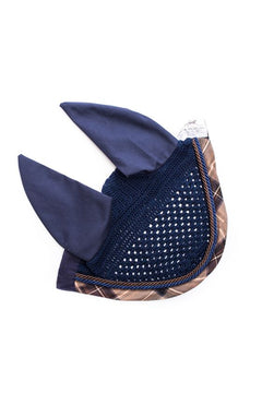 Marta Morgan Fly Ears (Navy with a Brown Tartan trim)