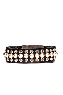 Bracelet Vienna Pearl (Black Leather)