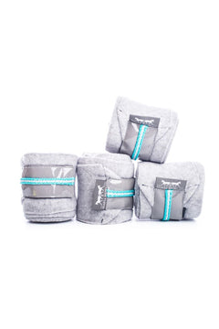Marta Morgan Fleece Bandages (Grey Fleece with a Grey Patent and Turquoise Trim)