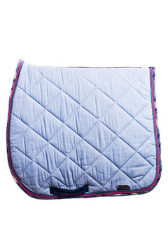Marta Morgan Cotton Saddle Blanket (Baby Blue Cotton with Navy Tartan Trim)