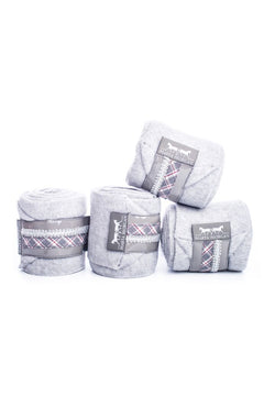 Marta Morgan Fleece Bandages (Grey Fleece with a Red/Grey Tartan Trim)