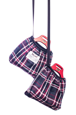 Marta Morgan Stirrup Covers (Grey/Red Tartan)