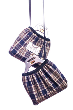 Marta Morgan Stirrup Covers (Brown/Navy Tartan)