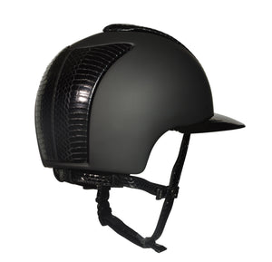 Cromo Textile Black with Black Gloss Snake Front/Back, Gloss Snake Chinstrap and Polo Peak