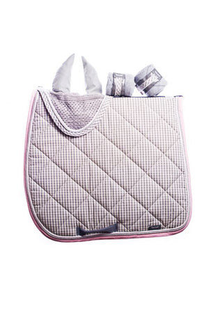 Marta Morgan Cotton Saddle Blanket (Grey Check with Pink Trim)