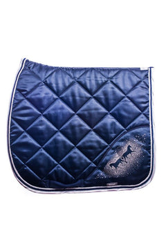 Marta Morgan Satin Swarovski Saddle Blanket (Navy with White Satin Trim)