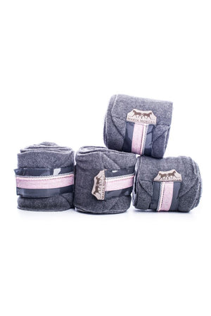 Marta Morgan Fleece Bandages (Dark Grey Fleece with a Dusky Pink Floral Trim)
