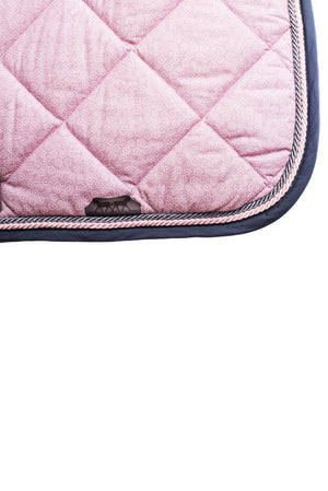Marta Morgan Cotton Saddle Blanket (Pink Floral with Grey Trim)