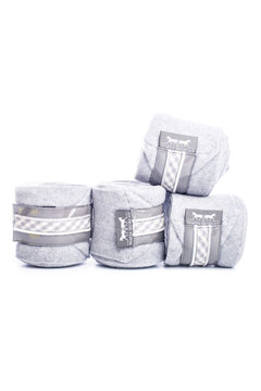 Marta Morgan Fleece Bandages (Grey Fleece with a Grey/White Check Trim)
