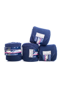 Marta Morgan Fleece Bandages (Navy Fleece with a Tartan Trim)