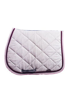 Marta Morgan Cotton Saddle Blanket (Grey with Dusky Pink Floral Trim)