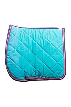 Marta Morgan Cotton Saddle Blanket (Turquoise Cotton with Grey Trim)