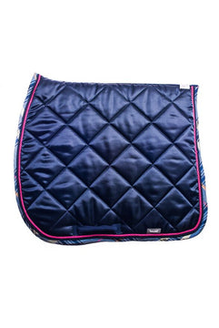 Marta Morgan Satin Saddle Blanket (Navy Satin Navy Tartan Trim)