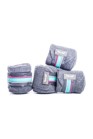 Marta Morgan Fleece Bandages (Grey Fleece with a Turquoise Trim)