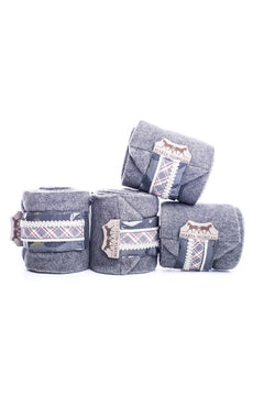 Marta Morgan Fleece Bandages (Grey Fleece with a Grey/Red Tartan Trim)