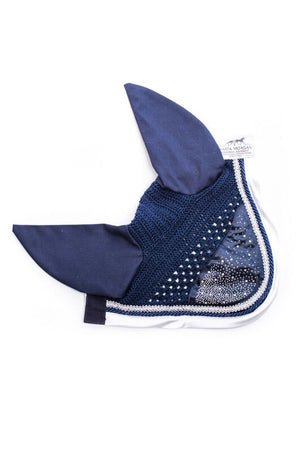 Marta Morgan Swarovski Fly Ears (Navy with a White Satin Trim)