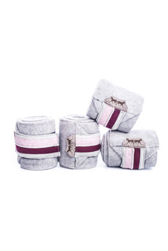 Marta Morgan Fleece Bandages (Grey Fleece with a Dusty Pink Floral Trim)