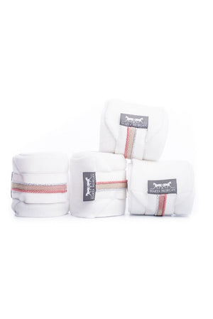 Marta Morgan Fleece Bandages (White Fleece with a White Patent and Pink Trim)