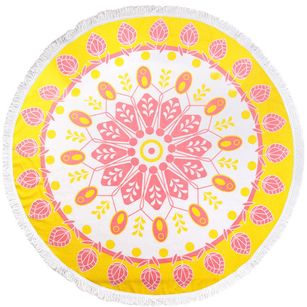 Round Luxury Beach Towels - Citrus Sun