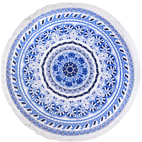 Round Luxury Beach Towels - Bermuda Blue