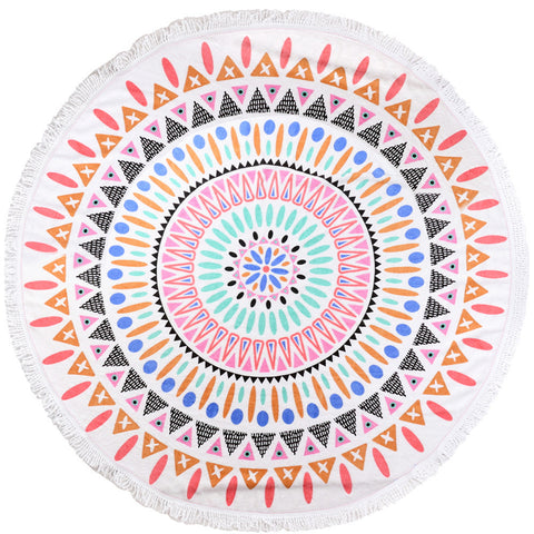 Round Luxury Beach Towels - Sunset Fiesta