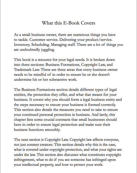 Insights from the Inside: A Legal Guide for Small Businesses and Content Creators (E-Book Version)