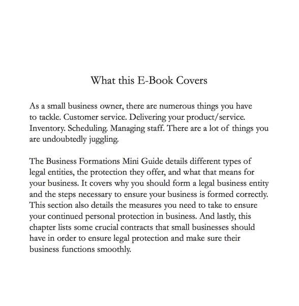 Insights From the Inside: Business Formations Mini Guide (E-Book)