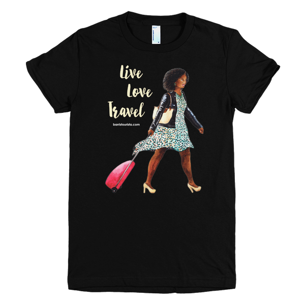 Live Love Travel-Women's Fine Jersey T-Shirts with Cream Text