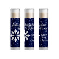 A Little Snowflake Winter Baby Shower Favors Lip Balm, 15pc