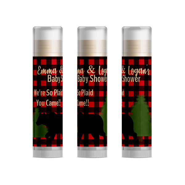Flannel Baby Shower Favors Lip Balm, 15pc