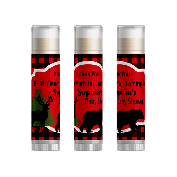 Lumberjack Baby Shower Favors Lip Balm, 15pc