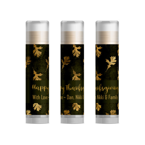 Gold Leaves Thanksgiving Lip Balm, Set of 15