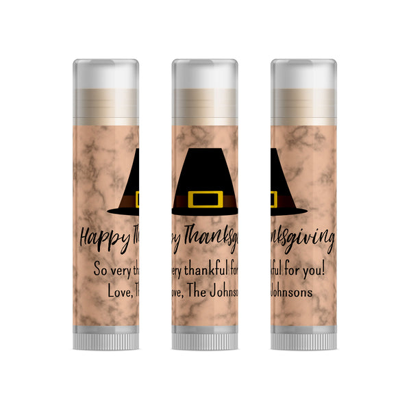 Pilgrim Hat Thanksgiving/Friendsgiving Party Favors Lip Balm, 15pc