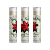 Poinsettia Christmas Party Favors Lip Balm, 15pc