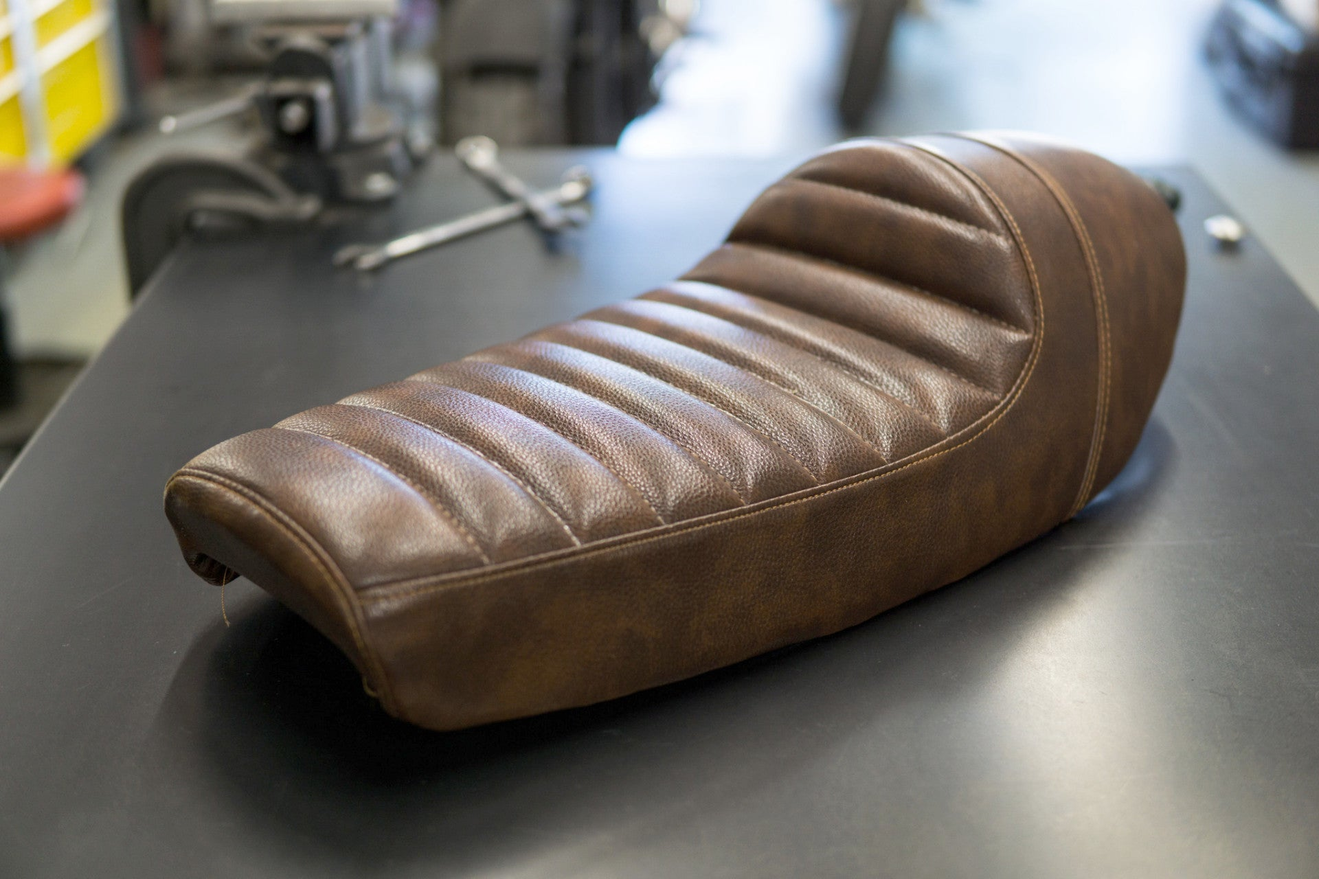 Cafe Racer Seat Brown Vinyl W Cowl