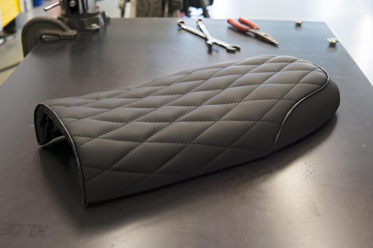 Cafe Racer Seat Black Vinyl W Diamond Stitching