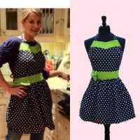 Polka dot apron with green sash seen on Candace Cameron Bure