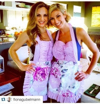 Fiona Gublemen and leslie Durson cook friends giving in their sugar baby aprons