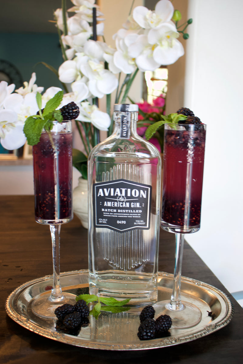 Blackberry mint cucumber gin fizz