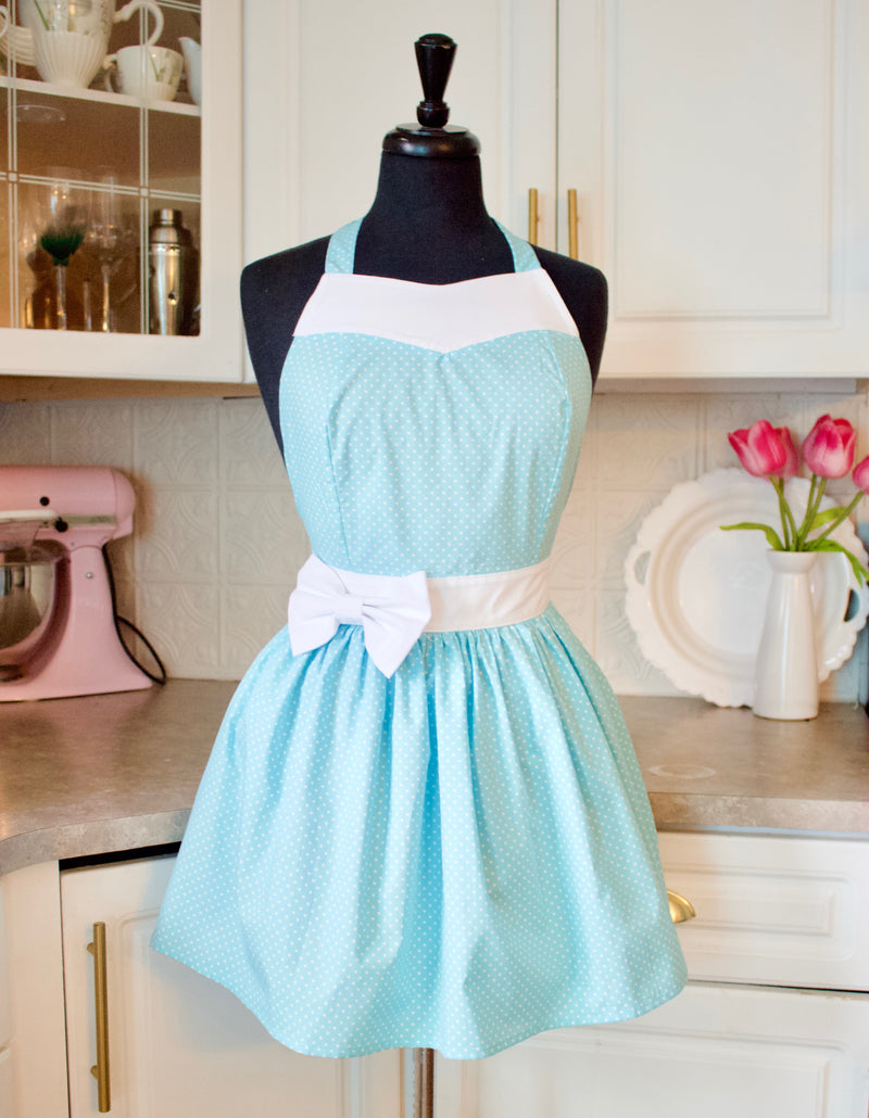 Party Girl Apron in Teal dots