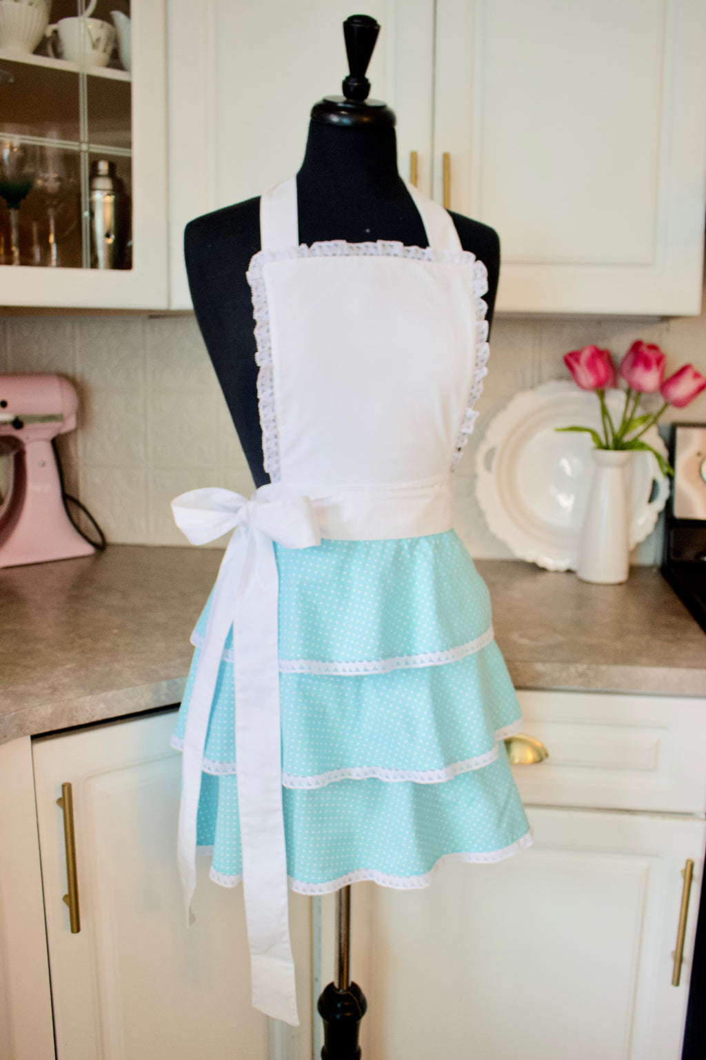 Sexy Ruffle Apron in Teal dots