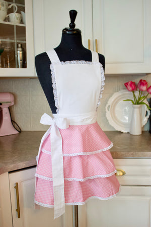 Sexy Ruffle Apron in pink dots