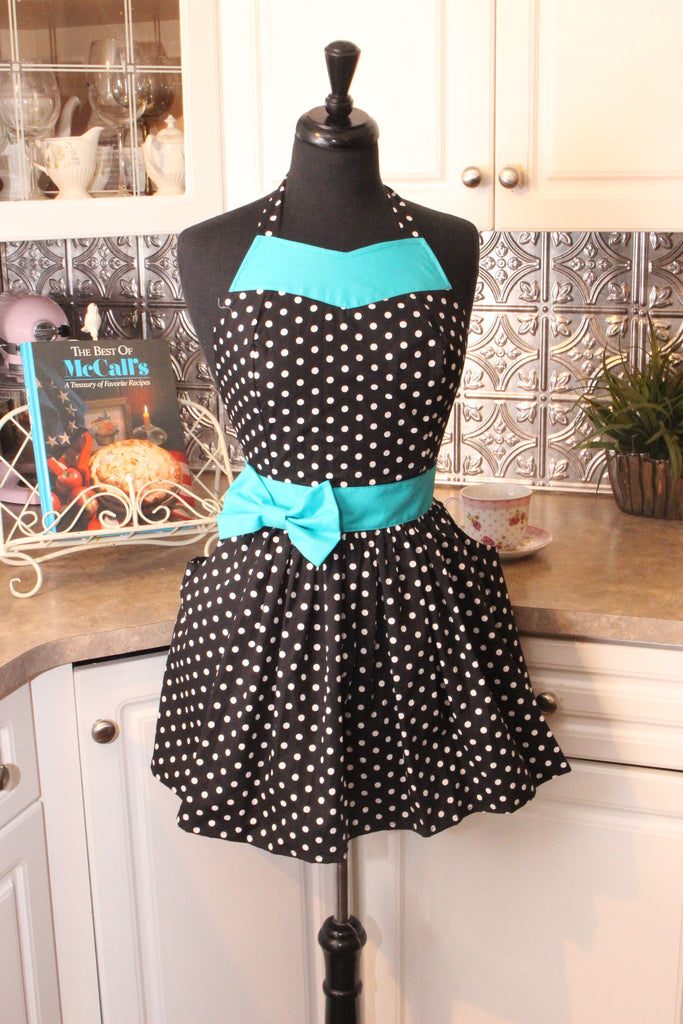 Party Girl Apron with Aqua Sash